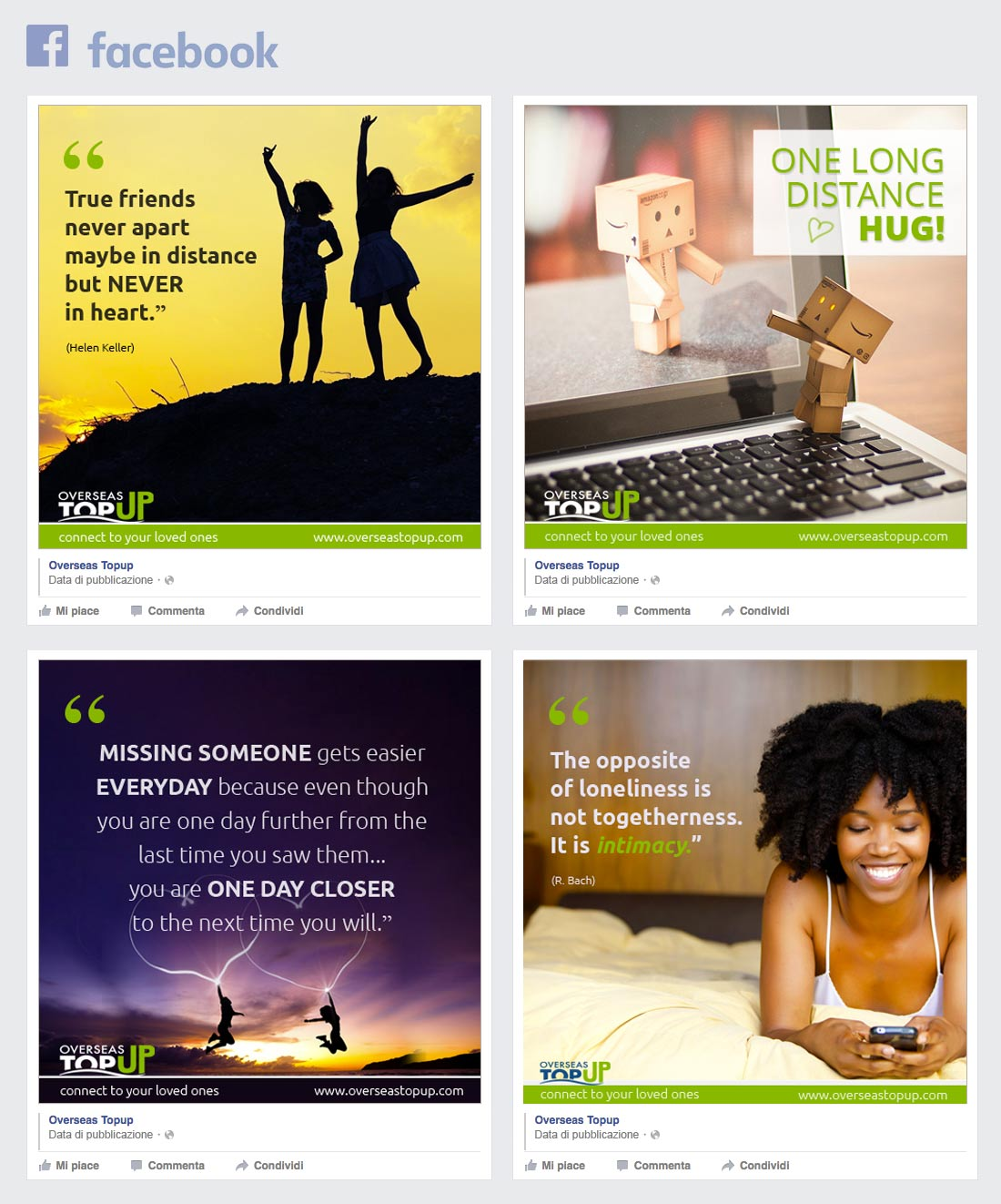 Overseas TopUp Facebook page social communication