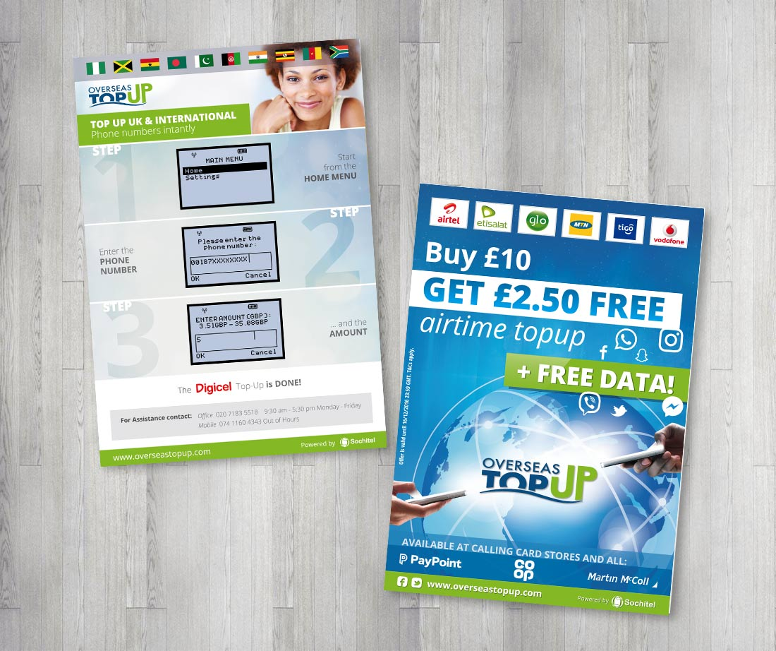 Overseas TopUp Facebook flyers leaflets